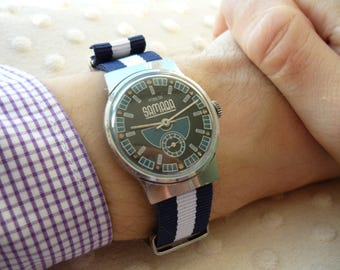"""USSR Vintage Pobeda """"Victory"""" Soviet Russian Men's Watch with new strap Vintage men's watch  – shiny face watch – soviet mechanical  #291016"""