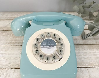 Duck Egg Blue Retro phone, 1960's, Corded, push button 746 phone, contemporary phone, modern phone