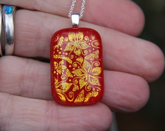 Red and gold dichroic glass pendant  , fused glass necklace, fused glass pendant , dichroic glass necklace, red dochroic glass , red glass