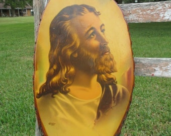 vintage Jesus print on wood slice, Jesus print, Jesus art, Jesus wall decor, wood slice wall decor, retro Jesus, kitschy, vintage religious