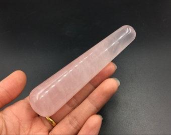 Rose Quartz Crystal Massage Wand Smooth Polished Pink Crystal Wand Meditation Crystal Healing Tool Reiki MW