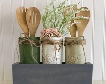 Utensil Holder, Planter Box Centerpiece, Mason Jar Planter Box, Mason Jar Centerpiece, Kitchen Decor, Planter Box, Mason Jar Decor, Jars