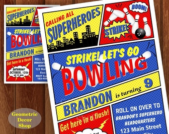 Bowling Birthday Invitation Superhero Bowling Birthday Party Invite Superheroes Boy Bowling Invitations Strike Red Blue Yellow BDBW5