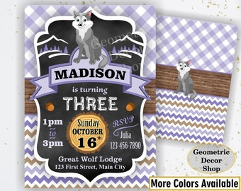 Lumberjack Birthday Party Invite First Birthday Wilderness Purple Plaid Lumber Jack Invitation Rustic Great Wolf Lodge buffalo Girl BDLJ42