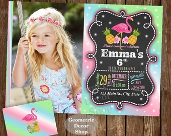 Flamingo Pineapple Birthday Invitation Pink Birthday invite Girl Invitations Printable Luau Hawaiian Pool Party Chalkboard Swimming BDP9