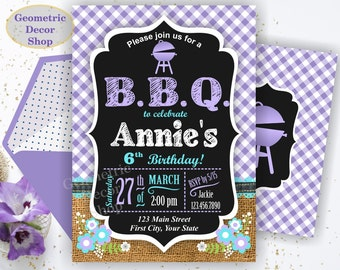 BBQ Plaid Birthday Party Invitation Invite Rustic Purple Burlap denim barbecue Girl barbeque Photo Photograph BDBBQ8