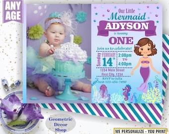 Mermaid POOL PARTY Invitation, Pool Party, Pool Bash, Birthday Invitation, Birthday Invite Girl Swimming Purple aqua Summer Invitations BDM6