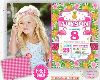 Flamingo Pineapple Birthday Invitation Pink Birthday invite Girl Invitations Printable Luau Hawaiian Pool Party Chalkboard Swimming BDP6/4