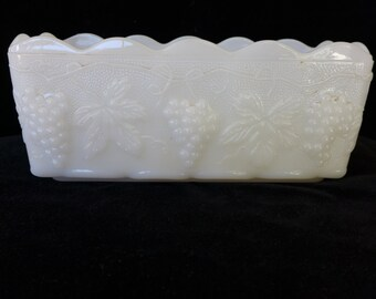 Anchor Hocking  Fire King Milk Glass Planter With Grapes and Grape leaves Design