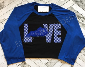LOVE Kentucky raglan/ Love KY raglan/ Blue and black kentucky baseball tee/ Kentucky applique raglan