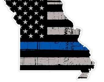 Missouri State (U26) Thin Blue Line Vinyl Yeti Tumbler Decal Sticker Laptop/Netbook