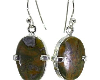 Rhyolite Earrings, 925 Sterling Silver, Unique only 1 piece available! color green, weight 4.6g, #28799