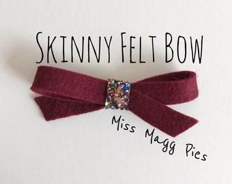 Wine · Skinny Felt Hair Bow / Baby Hair Bow / Toddler Hair Clip / Hair Accessory / Newborn Photo Prop / Gift for Baby Girl / Hair Piece