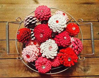 Valentine Gift, Zinnia Pinecone Flower Bowl Filler, Pink, Red, White, Magenta, Berry Pink Pinecone Flowers, Gift for Her, Gift for Mom