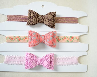 Infant Girl Elastic Sparkly Basic Bowtie Headband  6 Months - 1 Year ** You Choose Color **