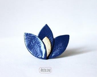Lotus petals blue lacquered leather brooch