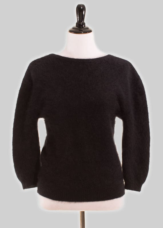 Vintage 90s ESPRIT Black Fuzzy Sweater Scoop Neck Front V-Neck