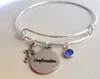 CONFIRMATION BANGLE W/  Antique sSlver Cross Adjustable Bangle W/ Swarovski Birthstone Crystal Drop - Religious Charm -  Gift For Her  FC1