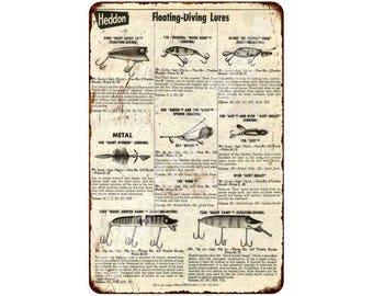 Heddon Floating-Diving Lures Vintage Look Reproduction 8x12 Metal Sign 8120954
