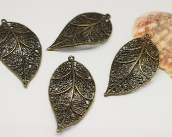 10 Pcs Antique Bronze Huge Leaf Pendant, 30mm x 55mm Large Leaf Design Connector With One Hole - Necklace Pendant KST 082