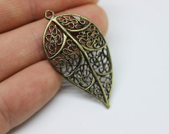 2 Pcs Antique Bronze Huge Leaf Pendant, 21mm x 40mm Large Leaf Design Connector With One Hole - Necklace Pendant KST 082