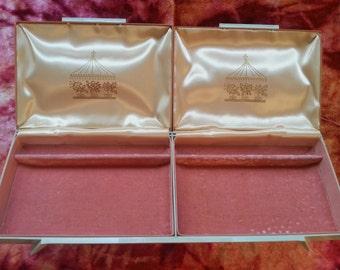 Vintage 1960s Pink & Gray Jewelry Trinket Box