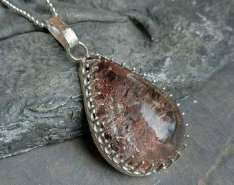 April Showers - Garden quartz teardrop in sterling silver