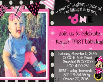MINNIE MOUSE 1st Birthday Invite