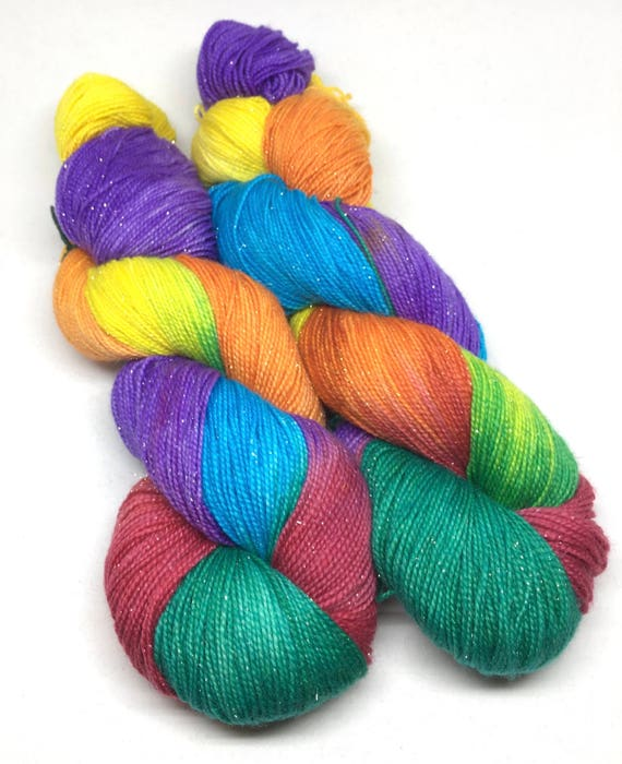 Hand Dyed Sparkle Sock Yarn_Rainbow Connection, Frio Sparkle Fingering Base