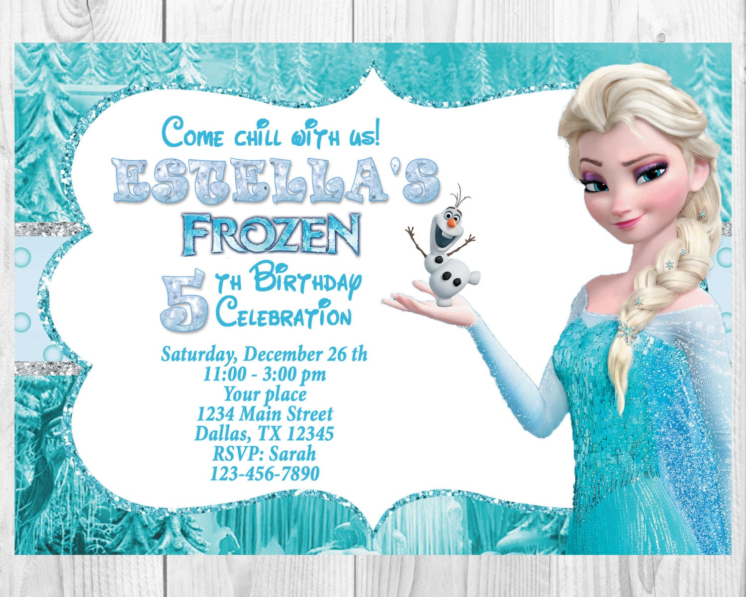 Frozen Birthday Invitation - Elsa Frozen Invitation, Printable ...