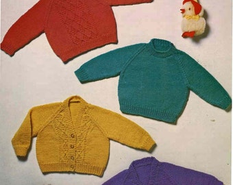 Vintage Pdf Baby Knitting Pattern, Argill 854 Vintage Knitting Pattern, Vintage Baby Sweater Cardigan Knitting Pattern