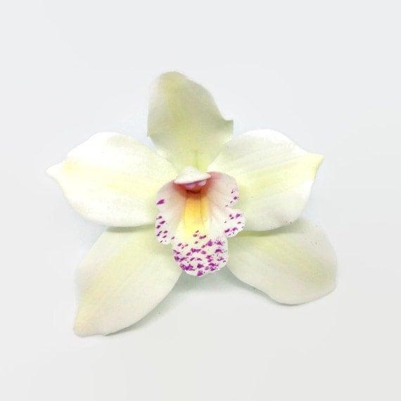 Cymbidium Orchid Sugar Flower, white gumpaste orchid for tropical wedding cake toppers, bridal showers, diy brides, fondant cake decoration