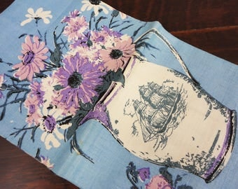 Vintage Luther Travis Linen Tea Towel - Pitcher of Flowers - Nautical Theme - Ship - Blue, Purple and Pinks