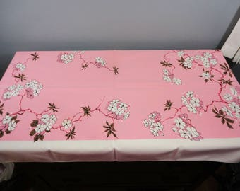 Vintage Rectangular Tablecloth - Pink, Brown and White - Floral - Soft Cotton - 52 x 48