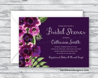 Floral Purple Bridal Shower Invitation Boho Modern Wedding Shower Invite 5x7 Digital File or Printed Invites