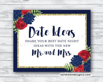 DIGITAL - Red Navy Gold Floral Date Night Sign Blue and Red Floral Gold Bridal Shower Date Night Idea Instructions Wedding Date Night Ideas