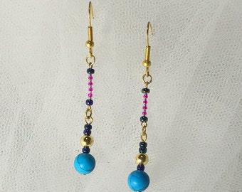 Earrings turquoise, beads swinging