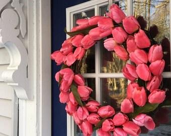 Spring Wreath; Pink Tulip