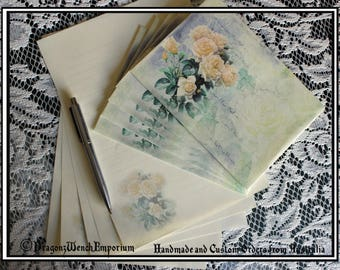 Handmade writing paper and envelopes. Hand made in Australia. Rose envelopes and aged look paper. Letter writing set envelopes and paper.