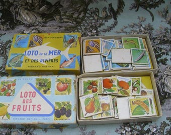 2 Boxes of Vintage 1960s French Childrens Picture Loto, Bingo