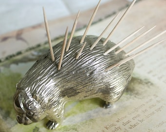 Vintage 1950's Porcupine Toothpick Holder // Silver Plate // Japanese // Hedgehog // Party Porcupine