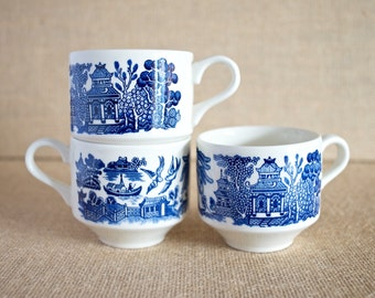 Vintage Willow Blue Churchill Pattern (Georgian Shape) - Coffee Cups - Set of 3