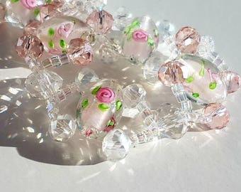Pink rose beaded bracelet, woven bracelet in gift box. Perfect present!