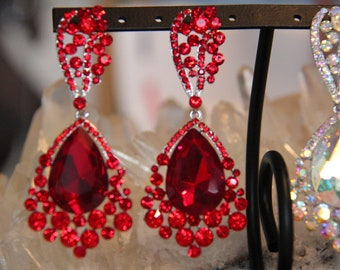 large crystal red rhinestone earrings, large red pageant/prom earrings, large AB rhinestone earrings, large blue rhinestone earrings