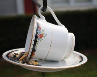 Vintage Teacup Bird feeder Black Floral, Teacup Jewelry Holder, Teacup Planter