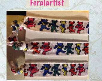 Grateful Dead Bears Artsy Hair Ties  - Rainbow - Collectible Hair Ties - Elastic Bracelets - Singles - Feralartist Cute Critters
