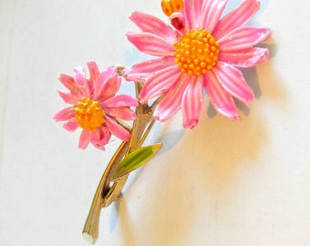 VERY Pretty Bright Pink Flowers and Ladybug Brooch/Pin-Vintage, Daisy-Signed Art Piece-All Orders Only 99c Shipping!!