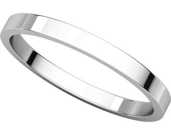 14K White Gold 2mm Flat Wedding Band For Men Women Stackable Ringg In Sizes 4