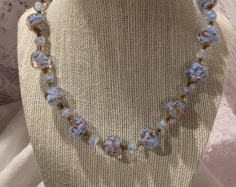 Vintage Venetian glass necklace - blue and copper specks