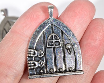 4 Silver Door Charms   Fantasy Door Charms   Fairy Door Charm   Witchu0027s Door  Pendant
